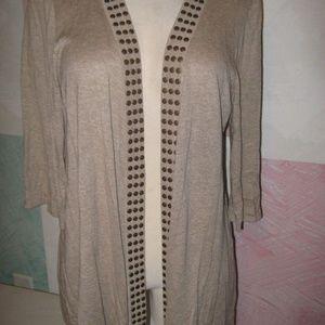 Maternity Tan w/ Brass Rivets Shrug Sweater 1X